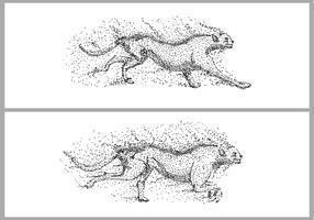 ghepardo eseguire illustrazione vettoriale di particelle