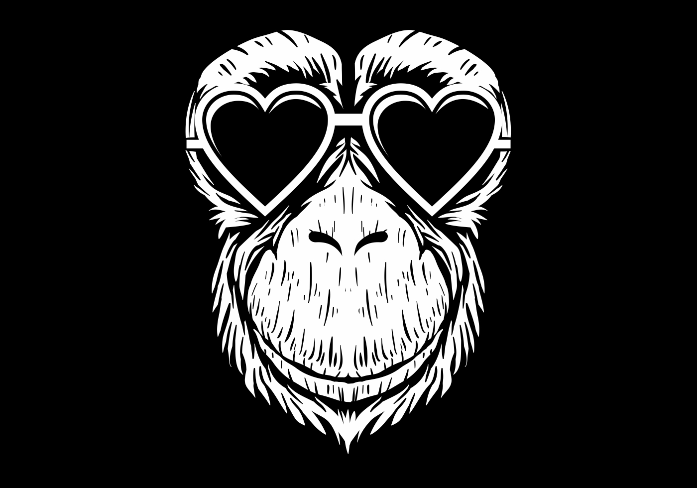 3 Monos Sabios Tatuajes ilustración de vector de lentes de chimpancé - descargar