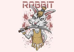 rabbit sword vector illustration