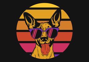 Hond zonsondergang Retro vectorillustratie