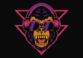 Gorilla Headphone Retro vector illustration