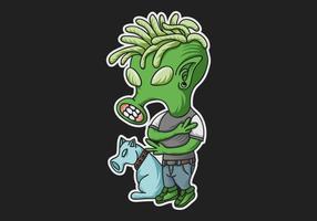 illustrazione vettoriale funky alieno verde