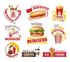 Set beautiful cartoon icons of fast food