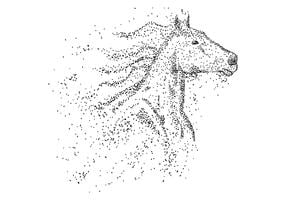 Horse head particle vector illustration