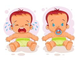 Vector illustration two baby in diapers