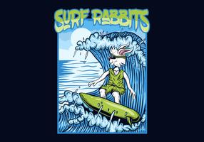 ilustração em vetor coelhos surf