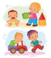 Set di icone vettoriali piccoli bambini