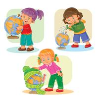 Set icons small girls playing with globe