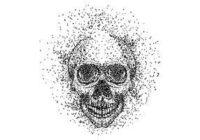 illustrazione di vettore di particella testa cranio