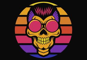 Skull sunset Retro Vector illustration