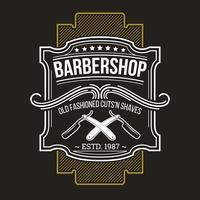 Emblème de salon de coiffure de vecteur, la signalisation