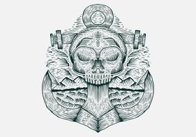 skull anchor hand drawn vector illustration