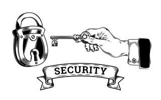 Konzept der Sicherheit - Hand mit Schlüssel öffnet, schließt das Schloss