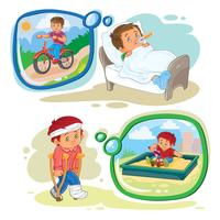 Set Clip Art Illustrationen kleiner Junge krank