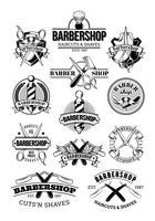 Ensemble de vecteur de logos de salon de coiffure, signalisation