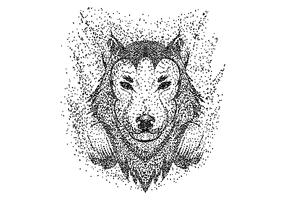 Wolf headphone particle vector illustration