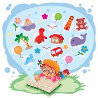 Kleines Mädchen liest ein Buch und träumt von Abenteuern