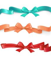 Vector set of satin ribbons with bows in different colors