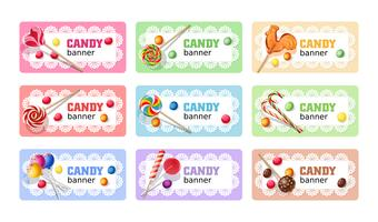 Set van zoete lolly vector banners.