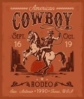 Rodeo poster with a cowboy sitting on  rearing horse in retro style