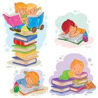 Stellen Sie Ikonen von den kleinen Kindern ein, die ein Buch lesen