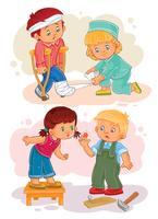 Imposti le icone bambina ammalata e compassionevole del ragazzino