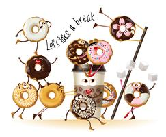 Design a poster with cartoon characters donuts