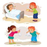 Ställ ikoner liten pojke sjuk och medkännande flicka