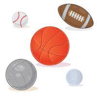 Uppsättning av sportbollar som isoleras på vit bakgrund.