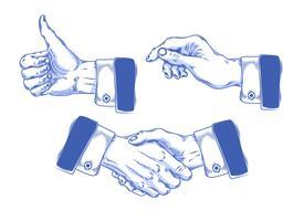 Uppsättning av ikoner mens händer gör olika gester