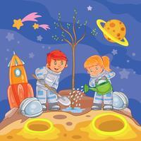 Pys- och flickastronauter som planterar ett träd