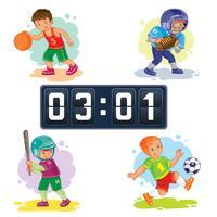 Set de iconos de niños jugando baloncesto, fútbol, béisbol, marcador