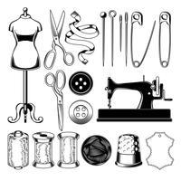 Définir des icônes de tailleur isolé sur blanc, élément de conception