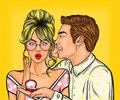 Pop-Art-Mann macht einen Heiratsantrag