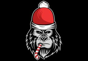 gorilla christmas vector