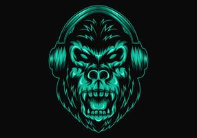 gorilla headphone vector