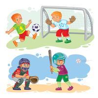 Set de iconos de niños jugando al fútbol y al béisbol
