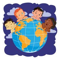 Young children of different nationalities located around the globe