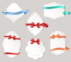 Set of paper form with satin ribbons and bows