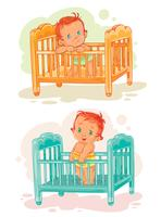Set van illustratie baby's liggen in hun bed