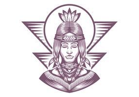 Bella illustrazione di vettore della ragazza del nativo americano