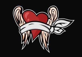 Ilustración de diseño de vectores de ala ciega de amor