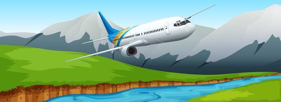Flugzeug fliegt über den Fluss