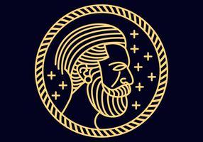 Hombre barba monoline ilustración vectorial vector