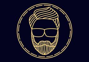 Man beard monoline vector illustration