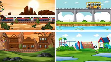 Set van vier verschillende scène