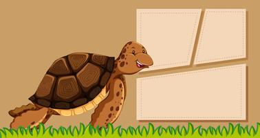 Turtle on note template vector