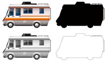 Conjunto de transporte en autocaravana. vector