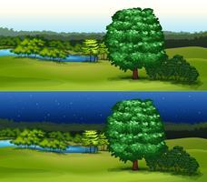 Grönt fält på dagtid och nattetid