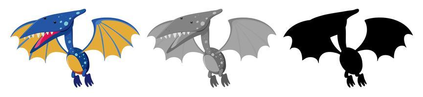 Set of pteranodon dinosaur